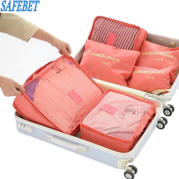 Safebet Brand 6pcs Summer Style Travel Storage Bag Set For Home Closet Divider Drawer Organiser Travel Clothes Classify Bags