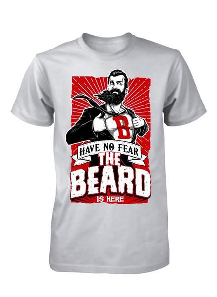 T-shirt dos homens de roupas de moda nova impressão legal sem medo barba aqui engraçado superhero adulto tees t shirt 100% algodão Venda Barato