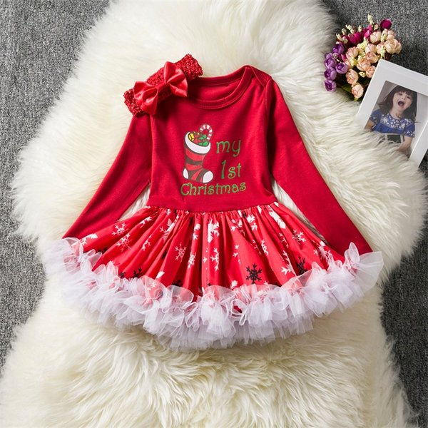 2018 Fancy Girls Christmas Tutu Dresses Toddler Girl Red Christmas Abiti a maniche lunghe Neonata Capodanno Costume Party Clothes