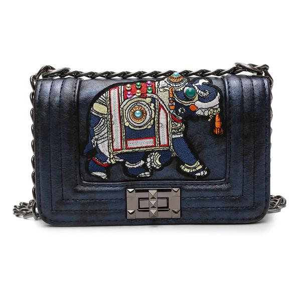 2018 новый роскошный дизайн сумка искусственная кожа слон вышивка сумки маленькая цепь Crossbody сумка повседневная сумки