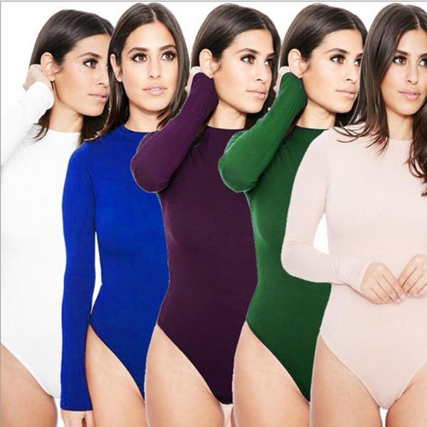 Commercio all'ingrosso 10 colori delle donne tute magre tute Chic sexy solido manica lunga tuta nera fitness maglietta che basa