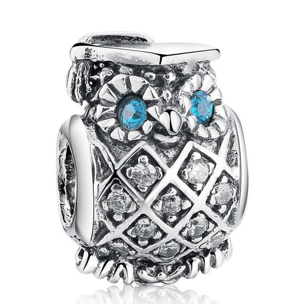 Blue CZ Crystal Eye Owl Charms Beads Authentic 925 Sterling-Silver-Jewelry Animal Bead DIY 2017 Summer Brand Bracelets Accessories HB465