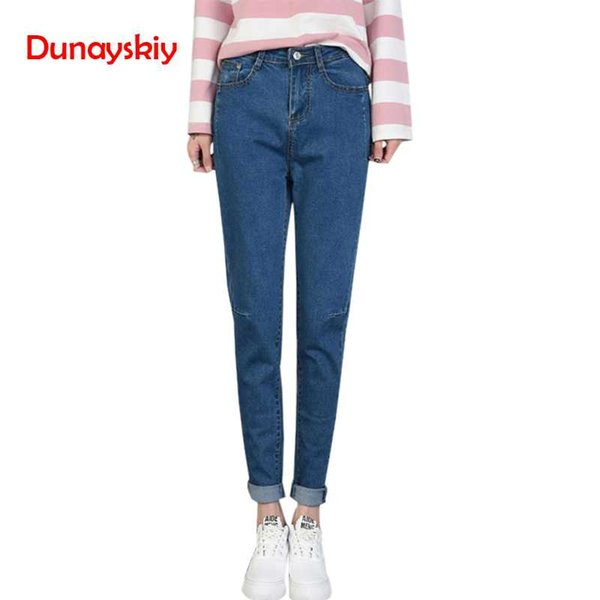 New High waist denim jeans women loose Pencil pants female turnip trouser office lady Plus size black casual Girl Student Zipper
