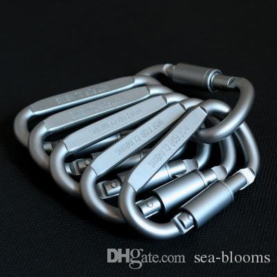 Großhandel aluminiumlegierung d form karabiner snap clip klettern button sicherheit schnalle schlüsselanhänger carabiners outdoor edc kampierendes werkzeug g854f