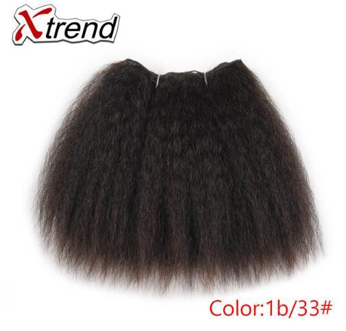 Fasci di capelli crespi diritti per le donne nere africane 8 pollici 14 pollici capelli sintetici corta tessuto Kanekalon capelli trame 1-4 pezzi
