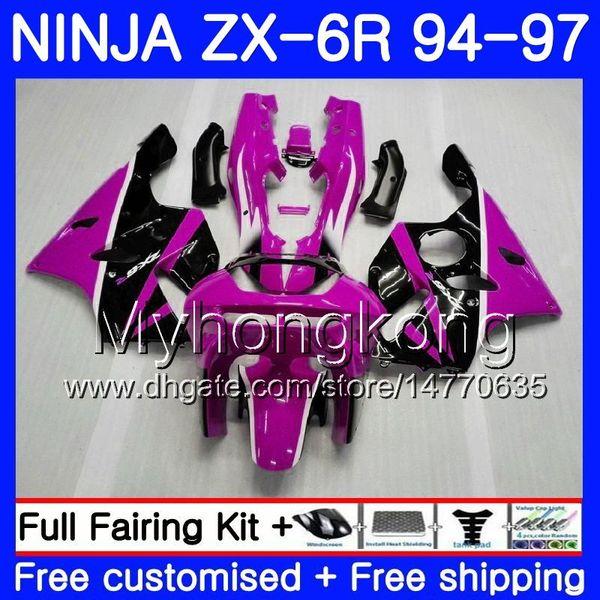 Bodys Para KAWASAKI NINJA ZX 636 600CC ZX 6R 1994 1995 1996 1997 213HM.47 ZX600 ZX636 ZX-6R Rosee negro Rosa 94 97 ZX6R 94 95 96 97 Carenados