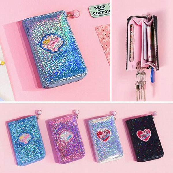 Fashion Women Coin Purse Retro Shiny Holographic Shining Laser Metallic Color Purse Short Clutch Wallet Bank Card Holders Zip Ba