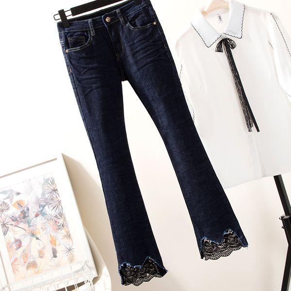 Plus Size Jeans For Women La'ce Tassel Mid Waist Elastic Denim Pants Wide Leg Ankle Length Femme Trousers Boyfriend Jeans 4XL