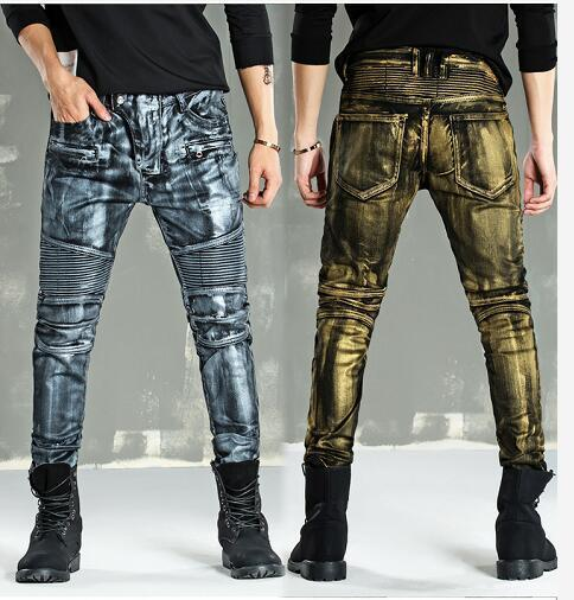 TANLANG Mens Distressed Ripped Biker Slim Fit Jeans Moto Retro Denim Pants Jeans for Men Slim Fit Stretch