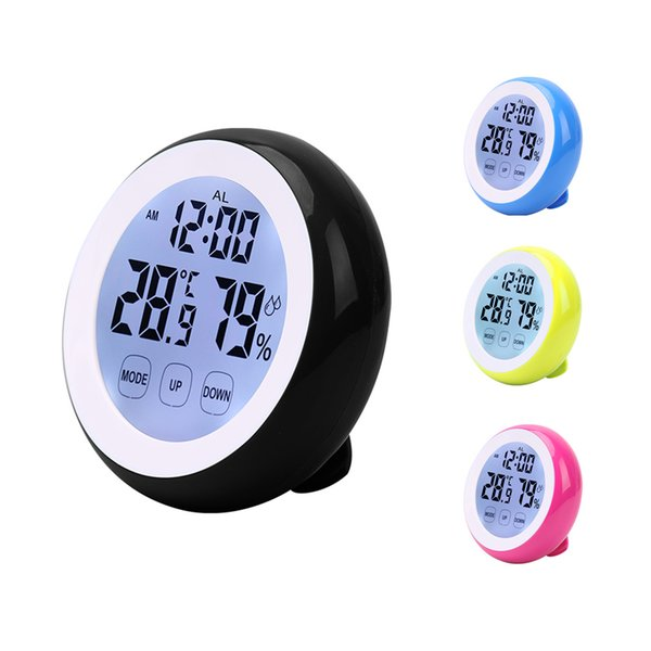 Touch Screen household Thermometer Hygrometer Clock Wall Hang Weather Station Backlight LCD Digital Temperature Humidity Meter Max Min Value