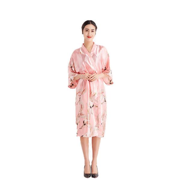 Розовый старинные цветочные женский район кимоно халат китайский стиль Женская ночная рубашка ванна платье пижамы Сексуальная длинные свадебные халат