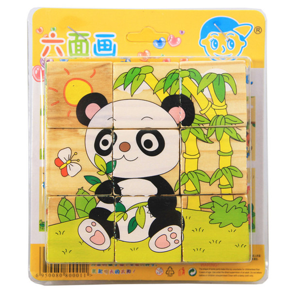 best selling 9pcs set 3D Animal Wooden Puzzle Education Learning Toys for Children Kids Baby Six Sides Panda Pattern Hexahedral Jigsaw Puzzle
