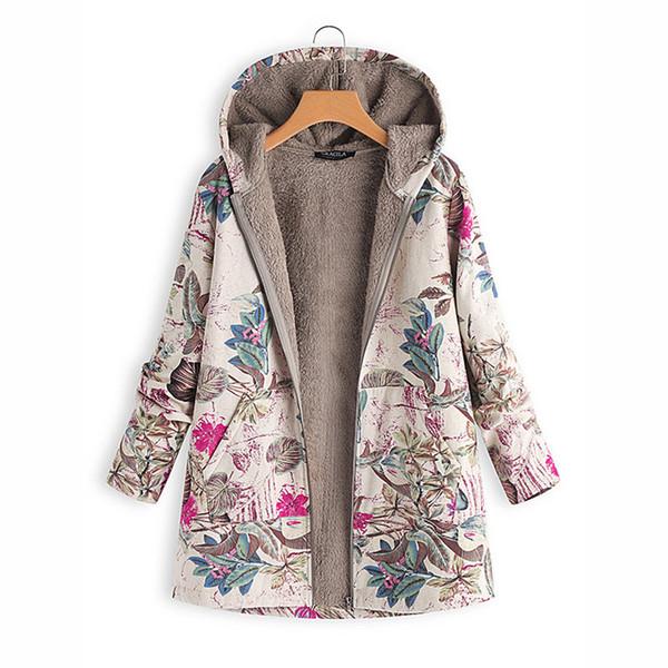 Großhandel Winter Warme Frauen Fleece Mantel Vintage Blumendruck Mäntel Outwear Übergroßen Tasche Mit Kapuze Jacke Damen Outwear Windproof M 4xl Von