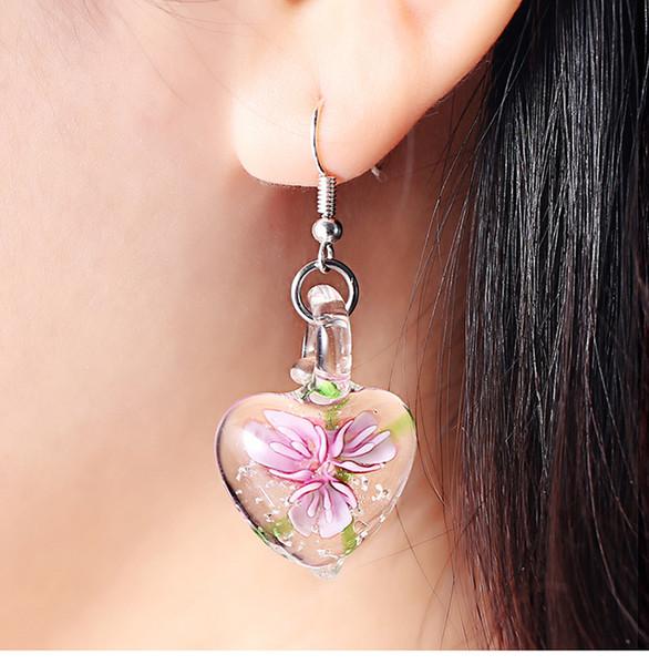 Glow in Dark Floral Heart Italy Murano Glass Earring Fashion Earrings Luxury Designer Earring Designer Jewelry Big Hoop Earrings Disco Ball