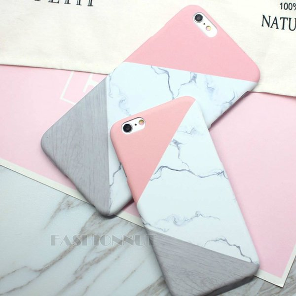 E83 Luxury Classic Geometric Marble Mosaic Case Cover Mobile Phone Protective Plastic Hard Back Shell For Apple iPhone 5 5S SE 6 6S 7 8