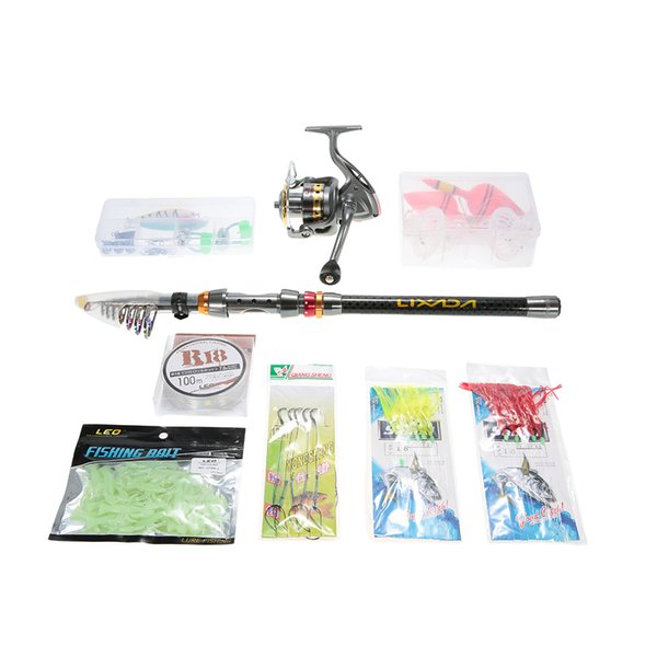 fishing rod 1.8/2.1/2.4/2.7/3m Telescopic Fishing Rod Combo Full Kit Spinning Reel Pole Set With Line Lure In Bag Carp Ice