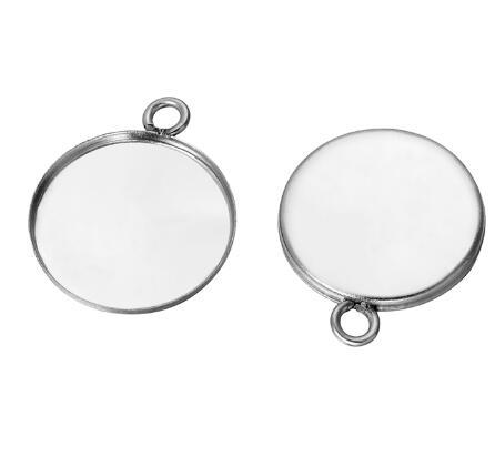 best selling 50 pcs Stainless Steel cabochon base setting diy stainless steel charms for earrings crafts making more size for choice