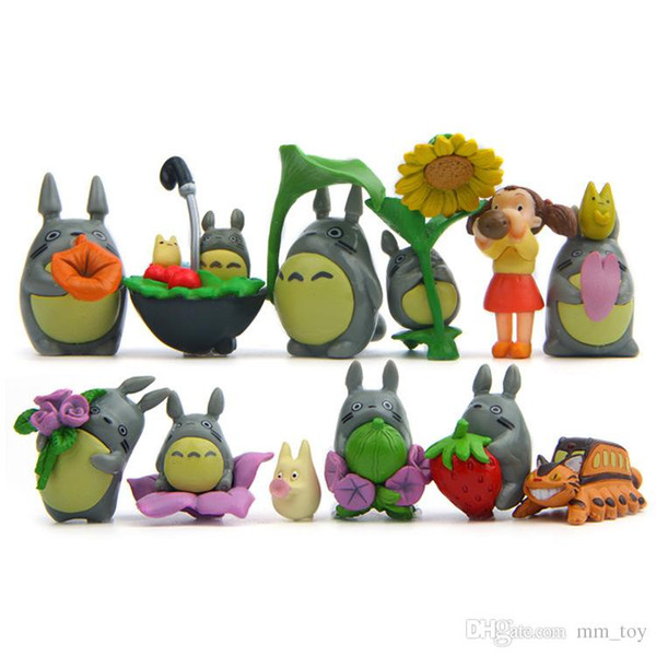 12Pcs/lot My Neighbor Totoro Figure Resin Miniatures Home Collection Chinchilla Doll Action Figure Fairy Garden Decoration Gift Toys
