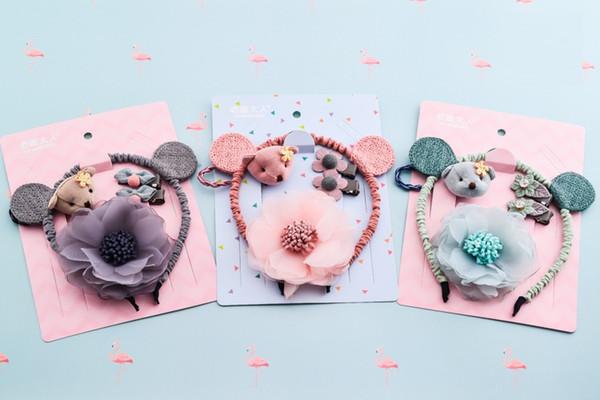 Crianças Meninas Headwear Define Hairpins Elastic Hair bands Handmade Dots Headbands Meninas Acessórios Para o Cabelo Grampos de Cabelo HR-009