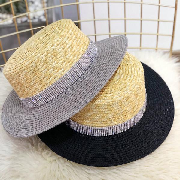 2018 Summer Women Beach Hat Shining Rhinestone Straw Hat Wide Brim Raffia Hat Flat Top Sun Caps
