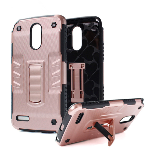 For LG LV3 V3 Aristo K8 2017 Fortune Phoenix 3 Rebel 2 Risio 2 Phantom King Kickstand Rugged Armor Case Shockproof Tough Hybrid Robot Cover