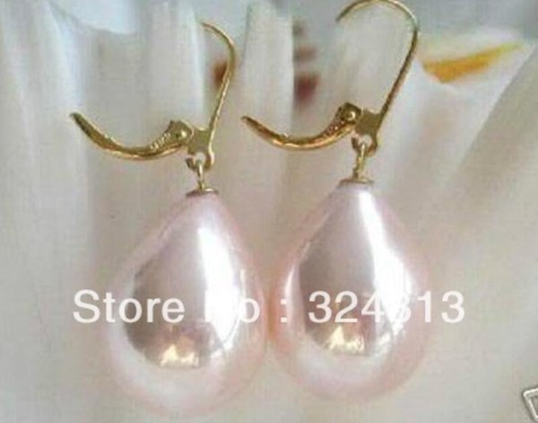 Exquisite12X16MM Pink South Sea shell pearl Teardrop Dangle earring *l