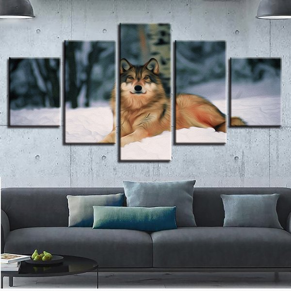 Modern Decor 5 Pieces Animal Wolf In The Snow Painting Scenery Frame Artworks Wall Art HD Printed Modular poster Pictures Canvas