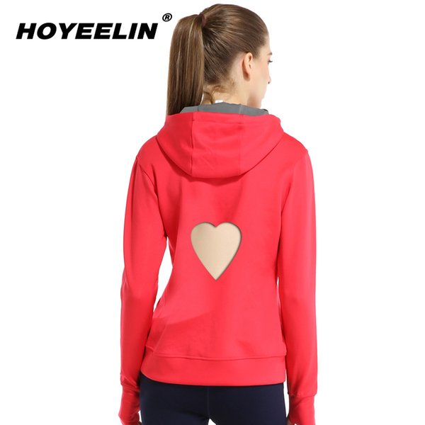 HoYeeLin Autumn Running Heart Hooded Pullover Quick-Drying Breathable Fitness Sweater Long Sleeve Sportswear Sport Jacket Female