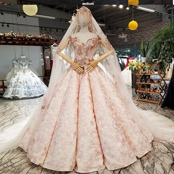 2019 Eğri Şekli Pembe Renkli Çiçekler Abiye Kapalı Omuz Sevgiliye Kabarık Kollu Dantel Yukarı Etek Kadınlar Akşam Elbise ile Uzun Veil