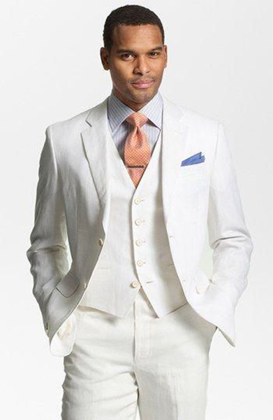 Slim Fit Linen Men Suits Wedding Groom Tuxedos 3 Pieces (Jacket+Pants+Vest) Groomsmen Bridegroom Suits Best Man Blazer