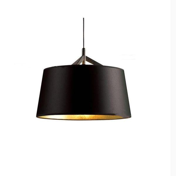 Modern European Simple black gold inside PVC fabric shade Pendant lights lamp for Hotel Living Room Restaurant dining room cafe kitchen