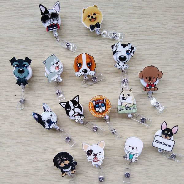 15pcs/lot High Quality Cartoon Lovely Dog Retractable Pull Cartoon Badge Reel ID Tag Card Badge Holder Clip for Kids Best Gift