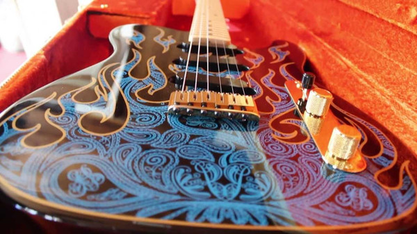 Custom Shop James Burton Signature Tele TL MN Blue Paisley Flames Pattern Electric Guitar Maple Neck & Dot Inlay, White Pearl Tuners