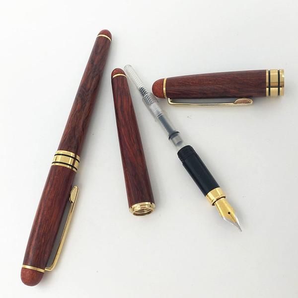 Luxury Flower Pear Mahogany Fountain Pen Red Wood Medium Writing Pens Gifts Office Finance Supplies JOY CORNER