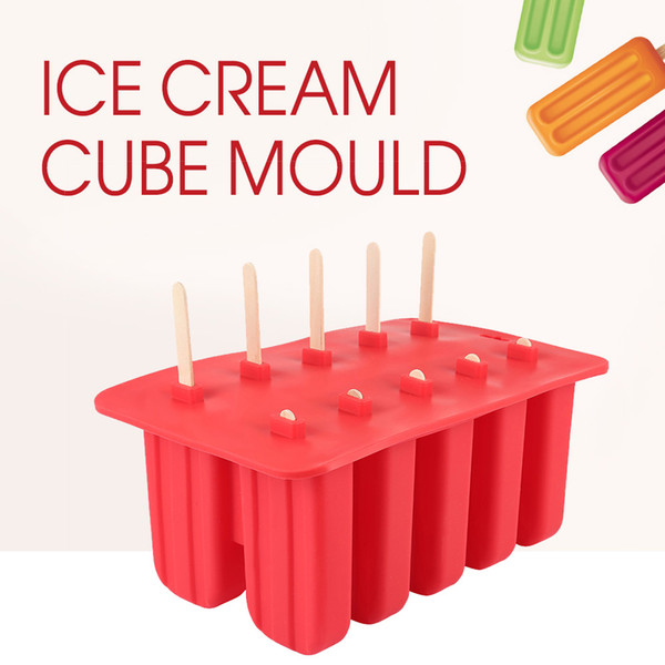 Household Diy Lolly Silicone Ice Cream Cube Mould 10 Case Tray Pan Kitchen Frozen Ice Molds Popsicle Maker Popsicle Tools