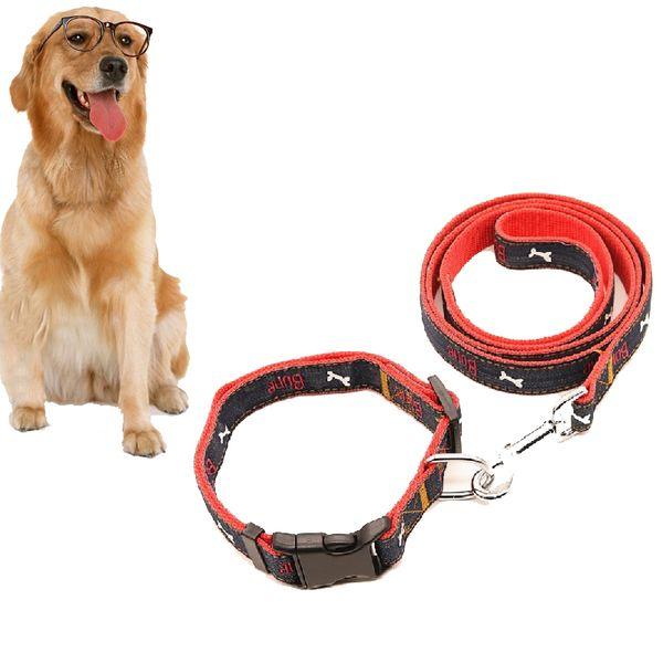 Hohe Qualität Günstigen Preis Heimtierbedarf Hund Katze Leine Kragen Set Knochen Muster Jeans Tuch Mode Hundehalsbänder Hundeleinen