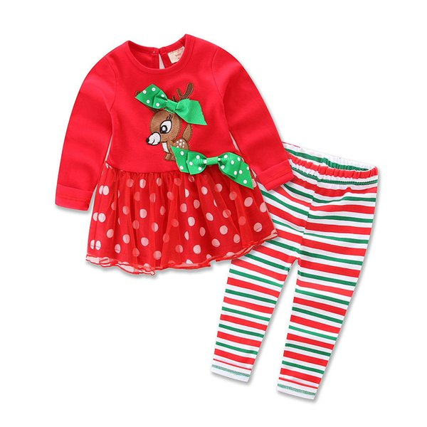 Baby Girls Christmas Clothing Sets Reindeer Children Girl Red Shirt Dresses Pants 2pcs Set New Year Clothes kids Christmas Costumes Outfits