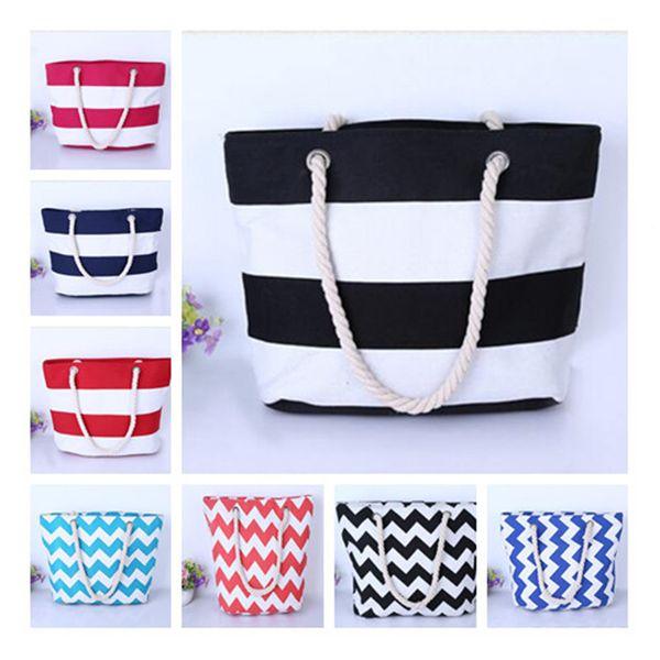 top popular Canvas stripe Tote Beach Bags Large Capacity Foldable Wave pattern Handbags Reusable Shopping Bag Travel Maternity bag Diaper Bags B11 2021