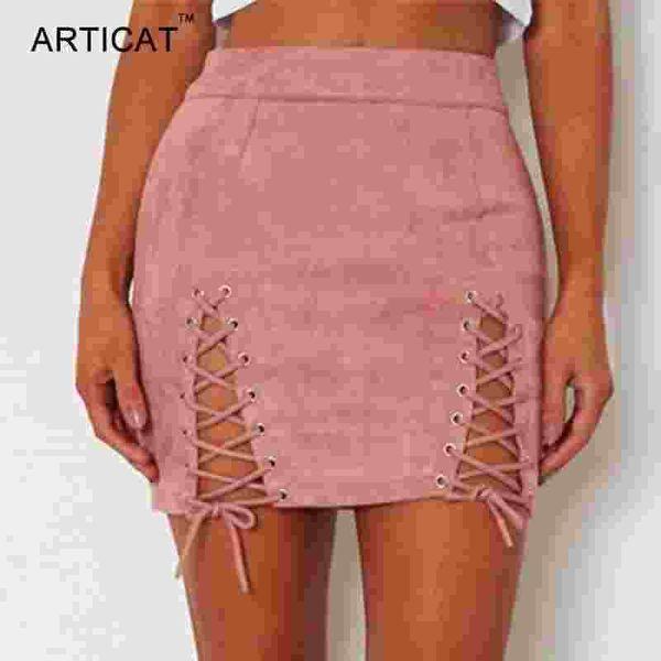 ARTÍCULO Sexy con cordones de cuero faldas de gamuza de las mujeres de la vendimia Cremallera cruzada Split Mini falda Sexy de cintura alta Bodycon falda lápiz corto