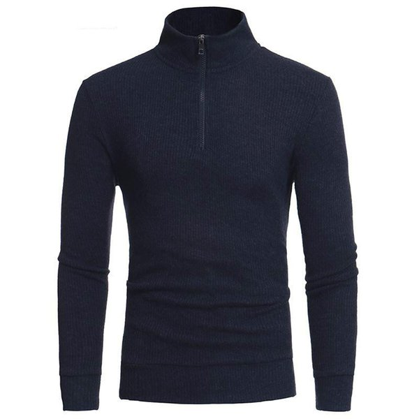 Turtleneck Mens Sweaters Pullovers Winter Thick Warm Casual Knitting Warm Stand Collar Zipper Slim Fit Knitwear Pullover Jumper