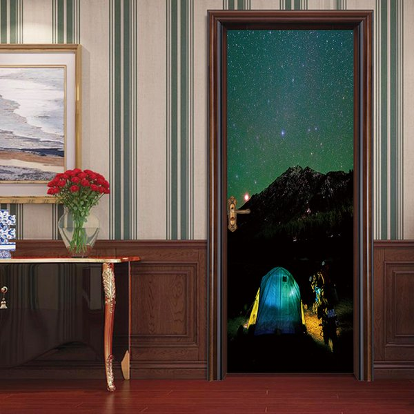 Personalized Creative 3D DIY Door Decal Clusters of stars Wall Sticker Wallpaper Living Room Mural Waterproof Removable Home Decoration Art