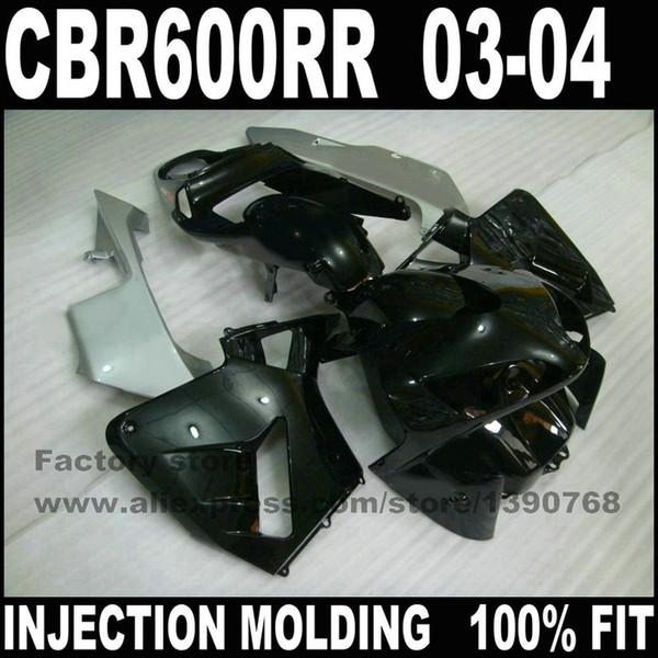 Carenados de fábrica de plástico ABS establecidos para CBR 600 RR 2003 2004 CBR600RR 03 04 negro fahull motocicleta gris piezas
