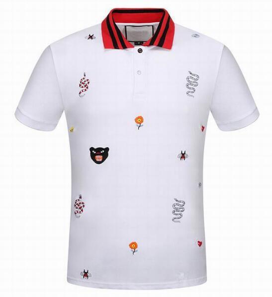 Marka Tasarımcısı Arı Yılan Çiçek Taç Leopar Baskılı Mens Polo Gömlek Kısa Kollu Iş Moda Rahat Polos Erkek polo gömlek Beyaz 3XL
