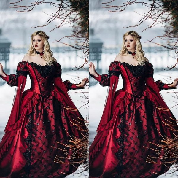Vintage Medieval Red and Black Gothic Wedding Dresses Off Shoulder Long Sleeves Lace Appliques Chapel Train Victorian Bridal Gowns Fall 2018