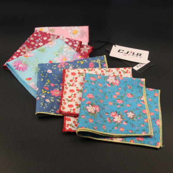 New Korean Fashion Designer High Quality Mens Print Floral Pocket Squares Handkerchiefs For Wedding Cotton 10pcs /Lot 24x24cm