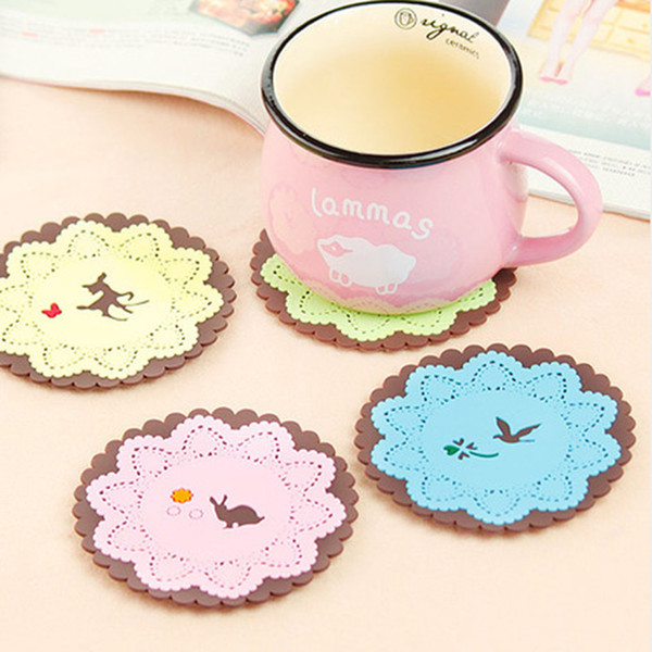Cup Coaster Silicone Bottle Placemat Round Drinkware Holder Mat Tableware Animal Flower Shape Shape Bar Kitchen Accessories F321