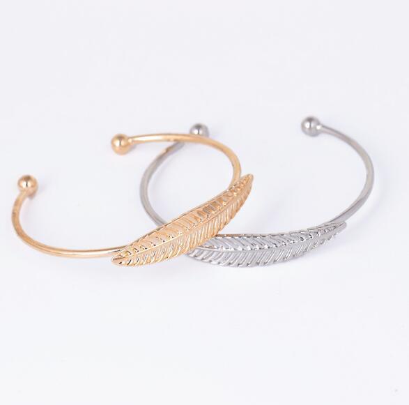 2018 vendite calde moda braccialetto regolabile apertura foglia braccialetto placcatura d'argento polsino bracciale in oro braccialetto per donna Mgirls