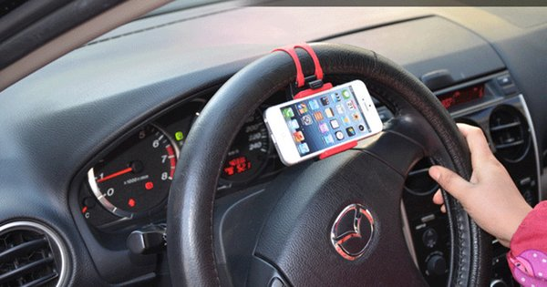 Universal Car Steering Wheel Cradle Cellphone Holder Clip Car Bike Mount Stand Flexible Phone Holder extend to 85mm for iphon6 plus Free DHL