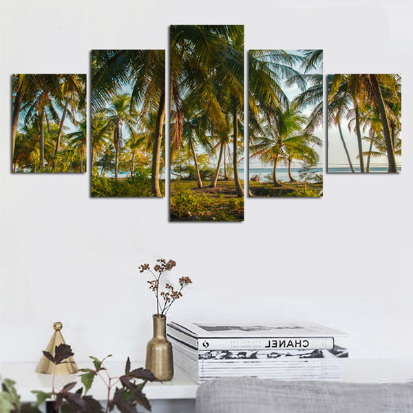 HD Prints Pictures 5 Pieces Beach Coconut Tree Seascape Painting Wall Art Modular Canvas Poster Framework Home Decor Living Room