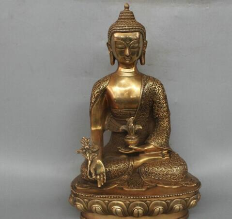 WBY --- 518 +++ 12 '' China Tibet Shakyamuni Mahavairocana Medicina Buda Estátua de Bronze